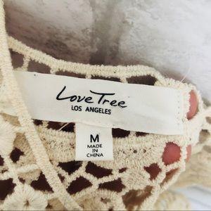 Love Tree Tops - CROCHET KNIT CREAM CROP TOP